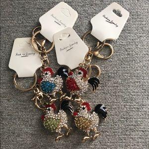 Rhinestone Rooster Chicken Keychain Key Ring